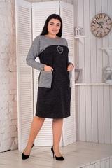 Сидни. Теплое комбинированное платье больших размеров. Черный