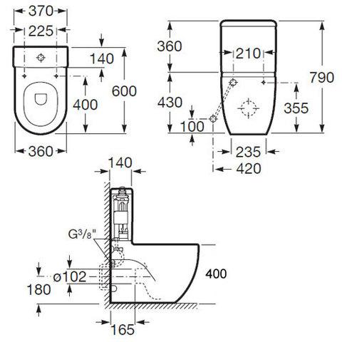 Унитаз напольный  с бачком и сиденьем микролифт Roca Meridian-N  342248000