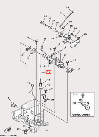 Тяга п/п для лодочного мотора F9,9 Sea-PRO (19-10)