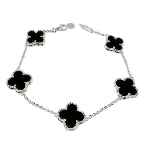 Браслет Trendy из серебра с черной вставкой- 5 мотивов
