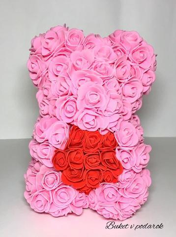 Мишка из Роз розовый 25 см