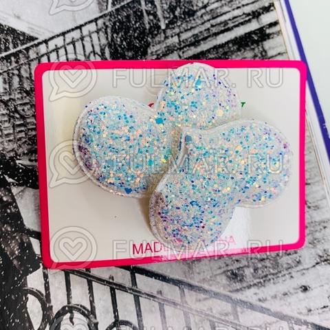Резинки для волос блестящие Большие Сердца Голубые 2 шт.