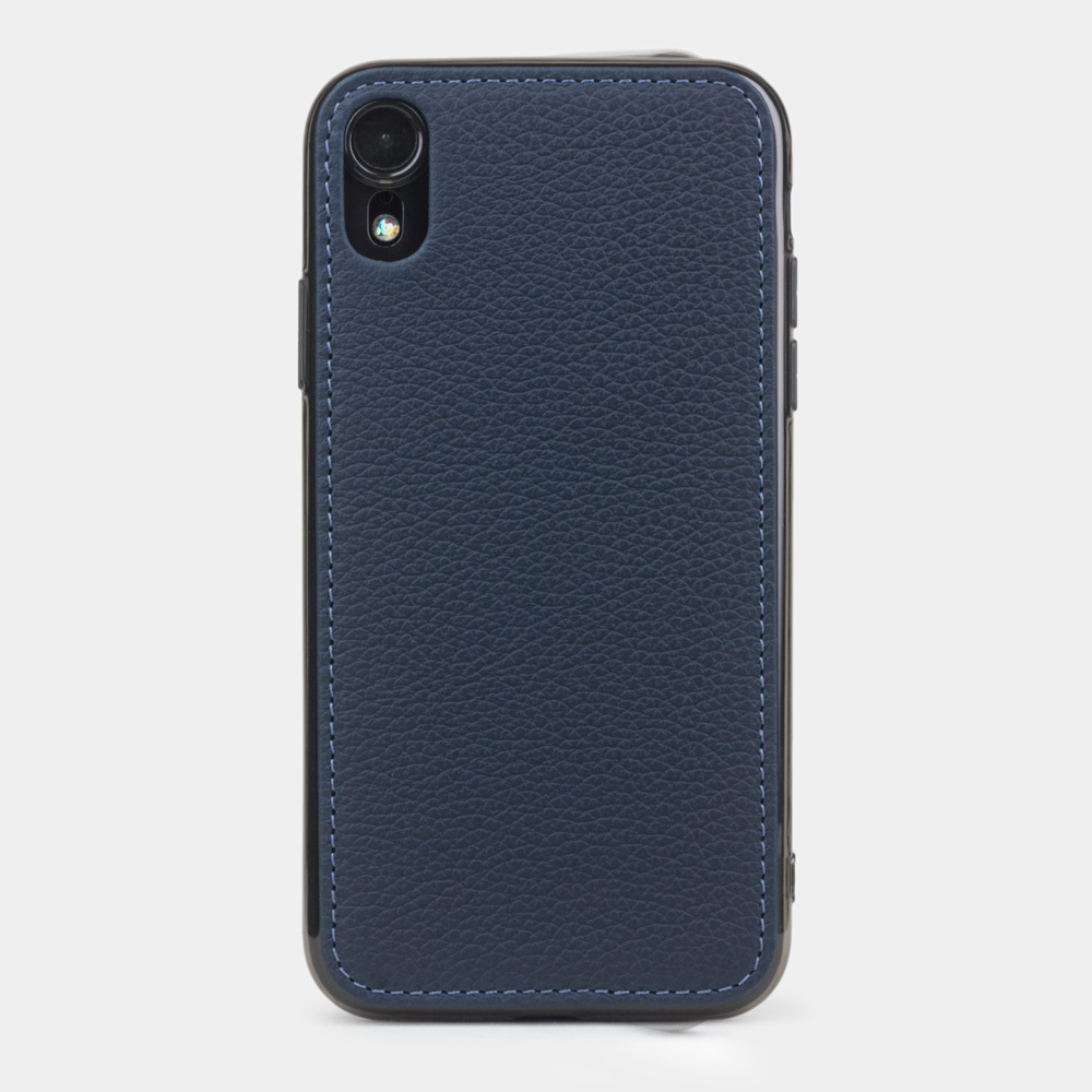 Чехол-накладка для iPhone XR из натуральной кожи теленка, цвета синий мат