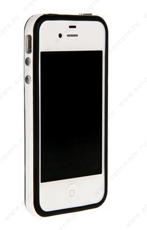 Бампер для iPhone 4s/ 4 черный с белой полосой