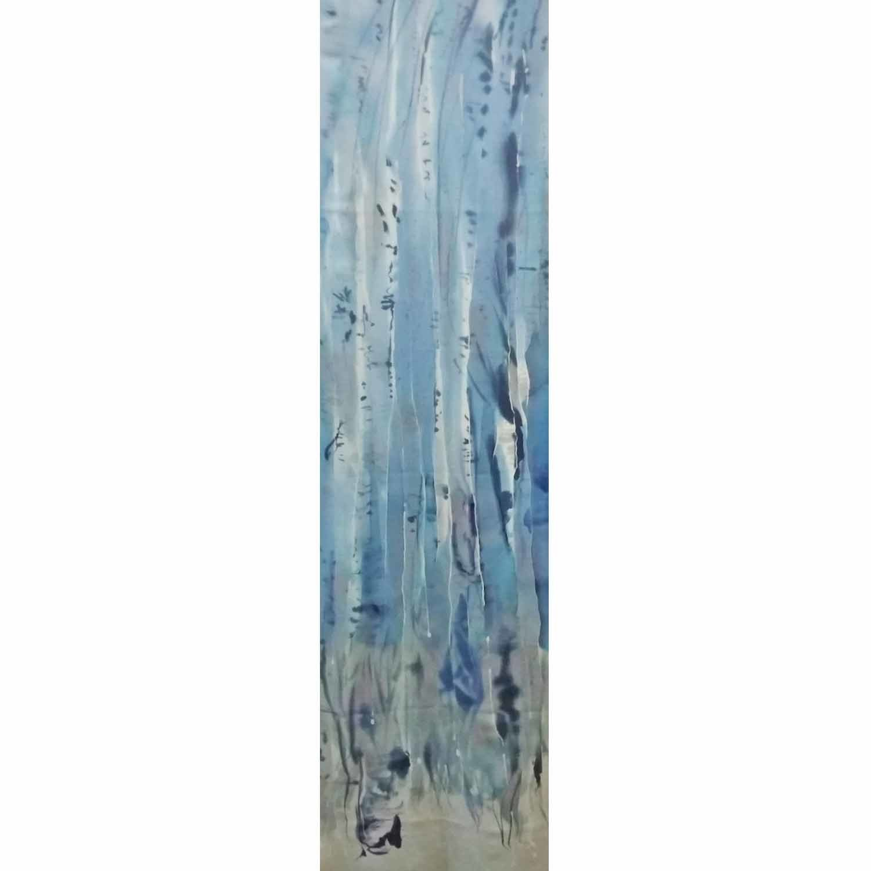 Шелковый шарф батик Зимний лес