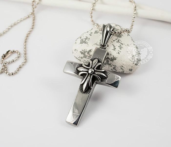 PM217 Массивная подвеска «Крест» из ювелирной стали