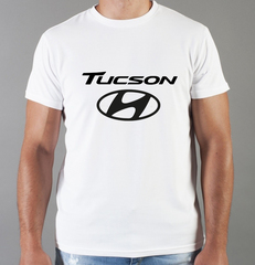 Футболка с принтом Хендай Туксон (Hyundai Tucson) белая 007