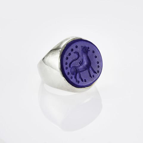 Кольцо-печатка с инталией 18 (лазурит, круг)