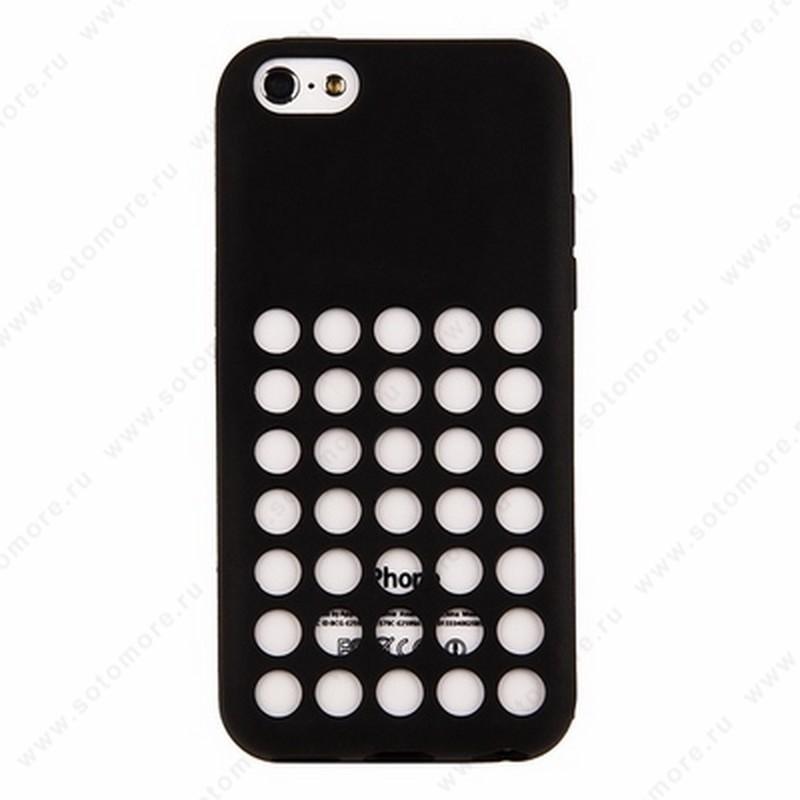 Накладка силиконовый для Apple iPhone 5C с перфорацией черный