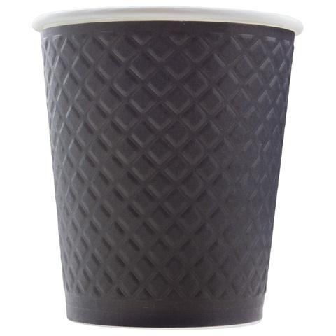 Formacia Waffle Black 250 мл (черные двухслойные рифленые бумажные стаканы, упаковка 25 шт.)