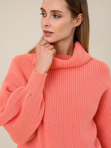 Женский свитер кораллового цвета из шерсти и кашемира - фото 3