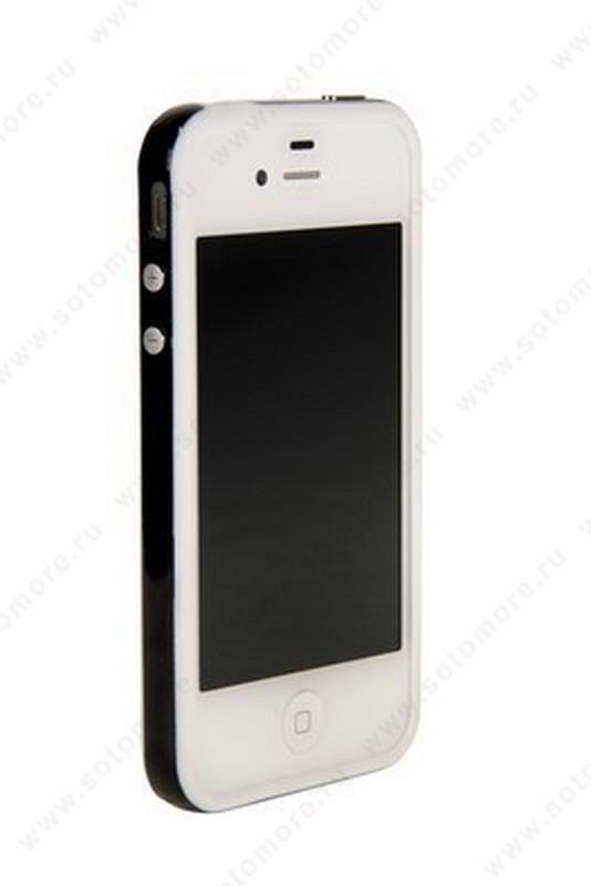 Бампер для iPhone 4s/ 4 белый с черной полосой