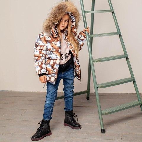 Детская зимняя куртка с авторским принтом «Мишки»