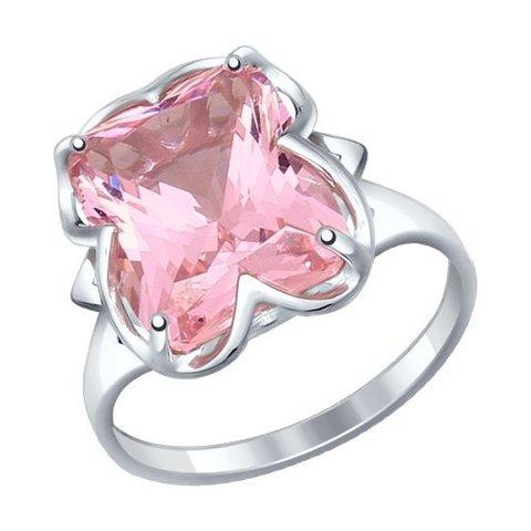 92011235 - Кольцо из серебра с крупным, розовым ситаллом