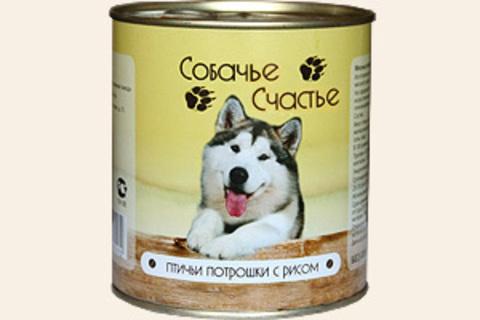 Собачье счастье Птичьи потрошки с рисом, 750г (упаковка 12 банок)