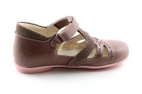 Туфли Тотто из натуральной кожи на липучке для девочек, цвет ирис серобежевый, 10207A. Изображение 4 из 12.