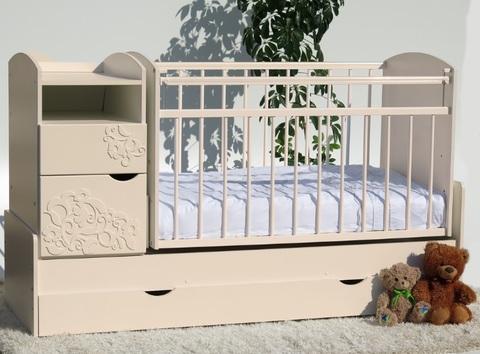 Кроватка-трансформер Элис-Виола маятник поперечный (слоновая кость)