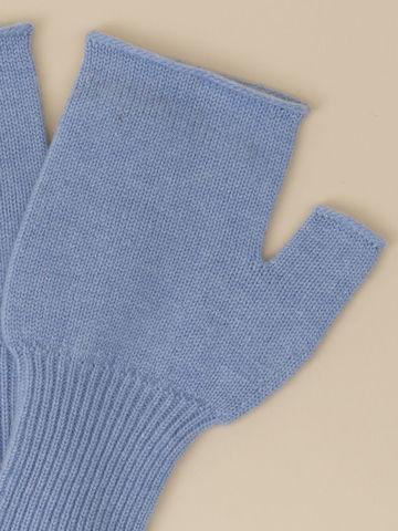 Женские митенки голубого цвета из 100% кашемира - фото 2