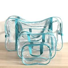 Прозрачная сумка в роддом с 2 косметичками, бирюзовая