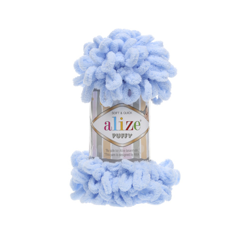 Купить Пряжа Alize Puffy Код цвета 183 Нежно-голубой | Интернет-магазин пряжи «Пряха»