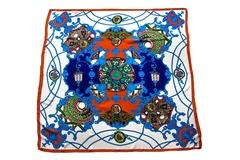 Итальянский платок из шелка бело-синий с орнаментом 0129