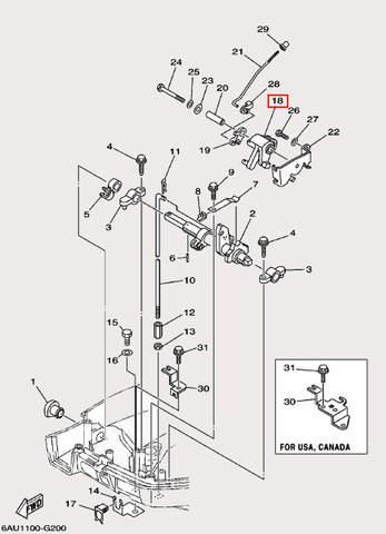 Рычаг управления заслонкой для лодочного мотора F9,9 Sea-PRO (19-18)