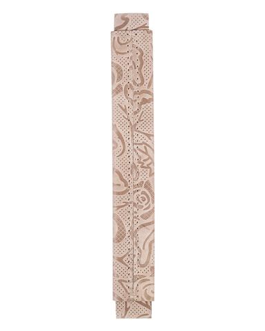 Сменная ручка из кожи бежевого цвета с цветочным принтом