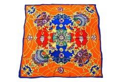 Итальянский платок из шелка оранжевый с рисунком 0127
