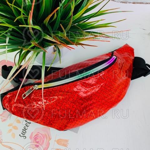 Блестящая поясная сумка летняя для девочки гладкая Русалочка Красная