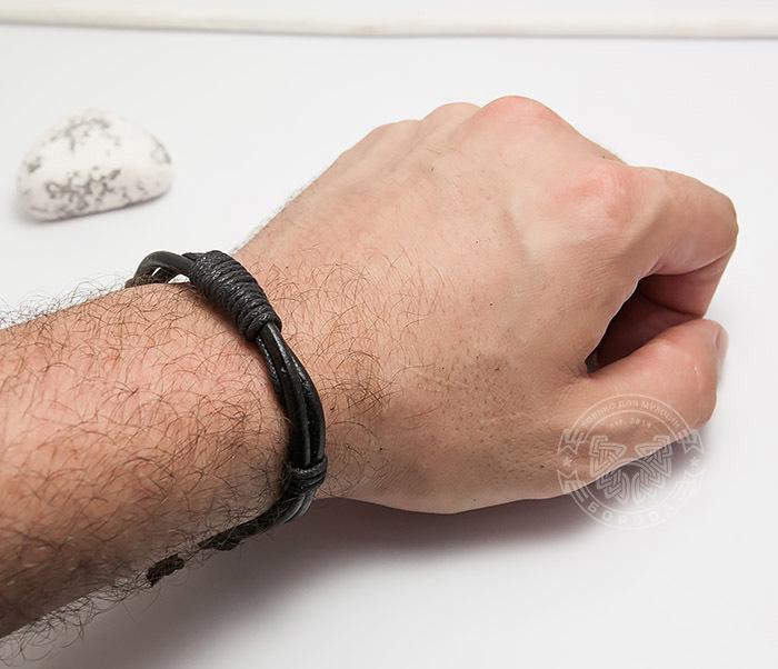 SL0007-K Мужской браслет «Spikes» на завязках из черного шнура фото 04