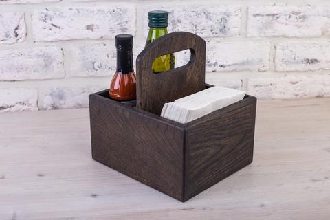 Dark Oak Spice & Napkin Holder 125mm