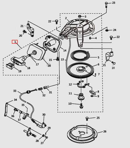 Стартер в сборе для лодочного мотора T9.8 Sea-PRO (7-1)