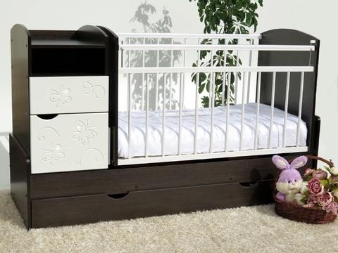 Кроватка-трансформер Элис-Бабочки маятник поперечный (венге/белый)