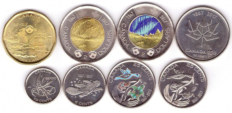 "Набор ""150 лет Конфедерации"". 8 монет. 2017 год. Канада"
