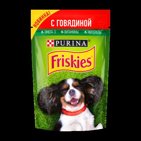 Friskies Консервы для взрослых собак с Говядиной в подливе (Пауч)