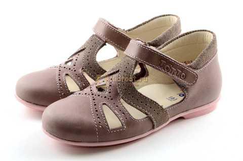 Туфли Тотто из натуральной кожи на липучке для девочек, цвет ирис серобежевый, 10207A. Изображение 6 из 12.