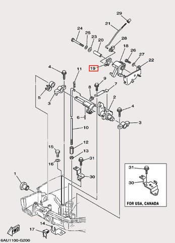 Рычаг дроссельной заслонки для лодочного мотора F9,9 Sea-PRO (19-19)