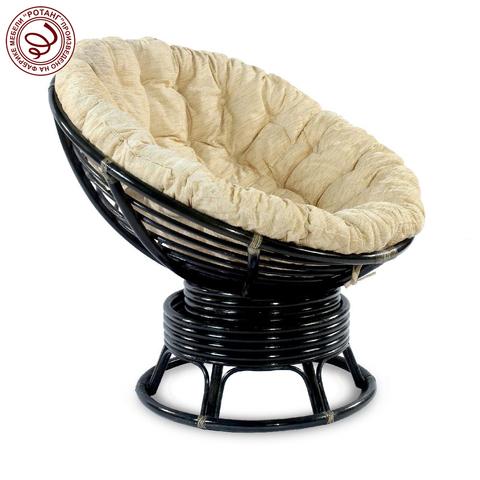 Кресло механическое PAPASAN Black (подушка рогожка)