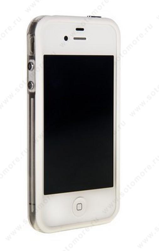 Бампер для iPhone 4s/ 4 белый с прозрачной полосой