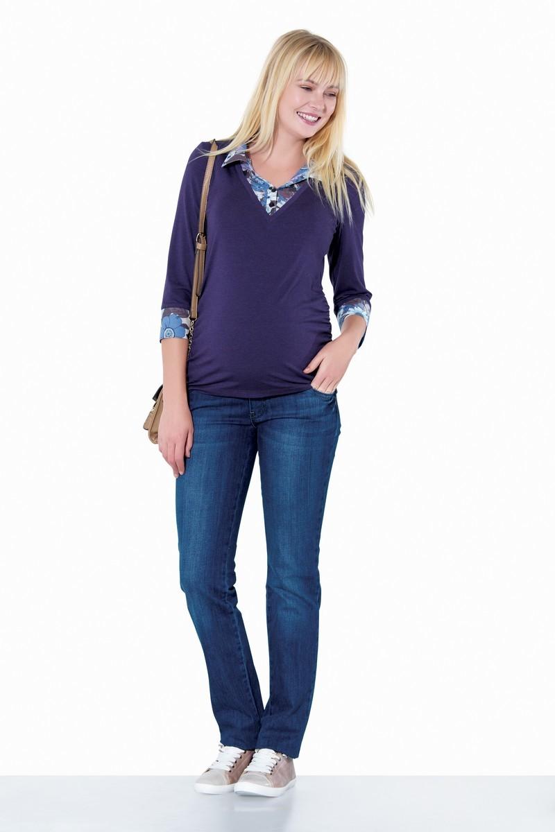 Фото джинсы для беременных EBRU, зауженные, низкий бандаж с регулировкой объема от магазина СкороМама, голубой, размеры.
