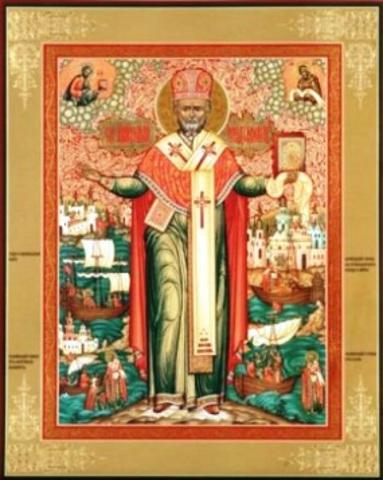 Николай Чудотворец с житием Икона
