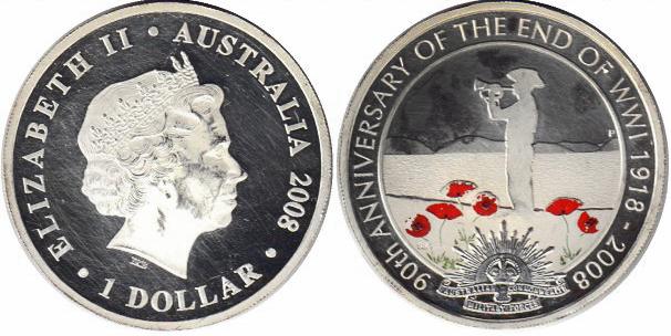 1 доллар. Первая мировая война 90 лет окончания 1918-2008. Австралия. 2008 год. Серебро. PROOF
