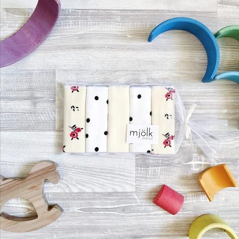 Набор платочков-слюнявчиков Mjölk  Цветочки