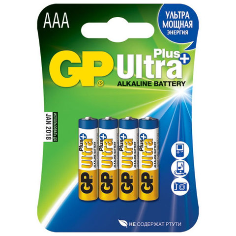 Батарейки GP 24AUP-U4 Ultra alkaline PLUS, LR03, AAA,блистер 4/40/