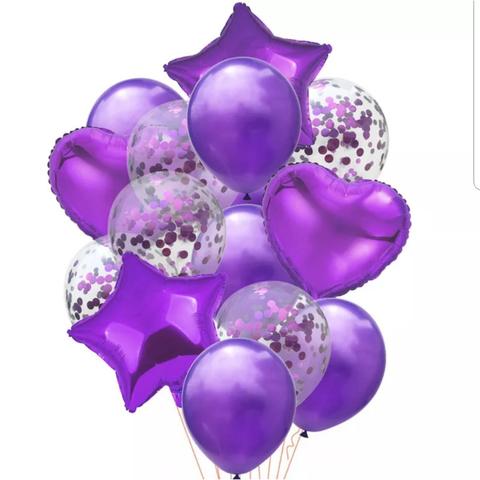 Букет сиреневых воздушных шаров с сердечками, звездочками, шарами с блестками