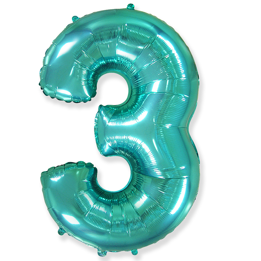 Фольгированный шар цифра 3 тиффани