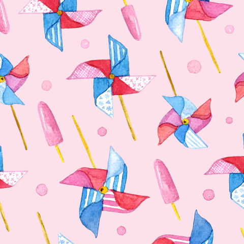 Вертушки на розовом фоне