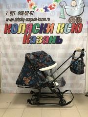 Санки-коляска Nika Ника детям 7-5, цветочный тёмный