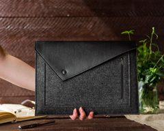 Черный конверт Gmakin для Macbook с экокожей