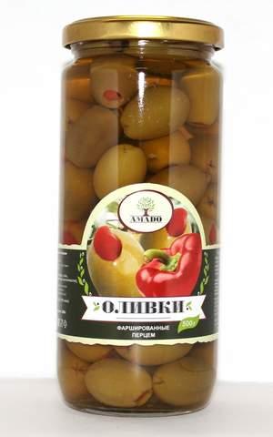 Оливки зеленые фаршированные перцем Amado, 500г